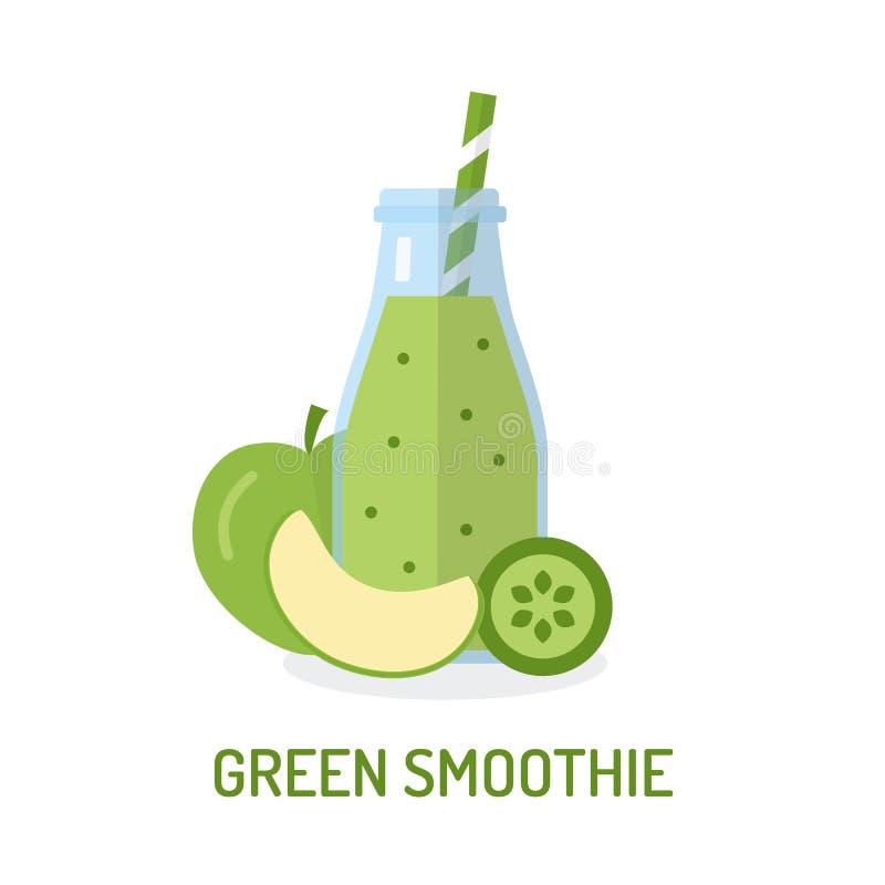 Smoothie vert dans le pot illustration de vecteur