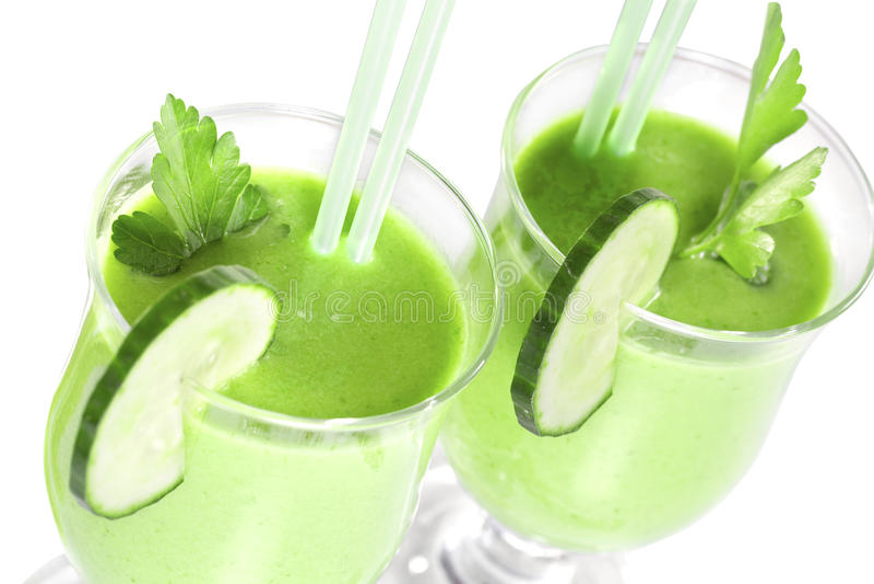 Smoothie vom grünen Gemüse stockbilder