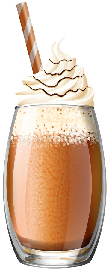 Smoothie with whipped cream stock illustration