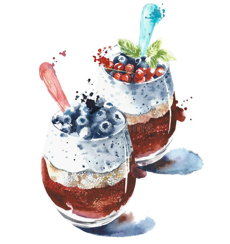 Smoothie yogurt in a glass healthy food breakfast watercolor painting illustration isolated on white background. Smoothie yogurt in a glass healthy food royalty free stock images