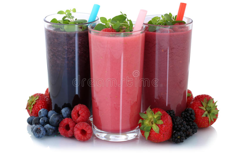 Smoothiefruktfruktsaft med isolerade frukter royaltyfria foton