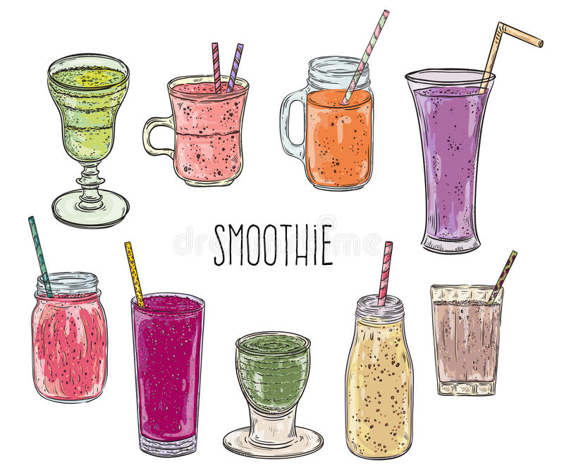 Smoothiereeks Gezond voedsel Witte achtergrond stock illustratie