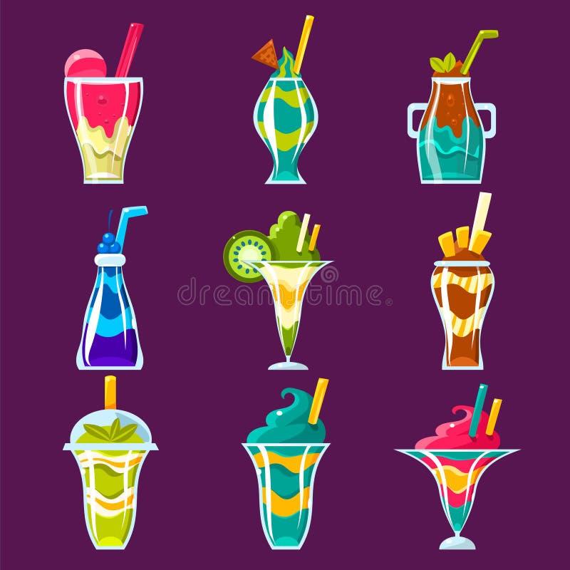 Smoothies и сладостное многослойное собрание коктеилей бесплатная иллюстрация
