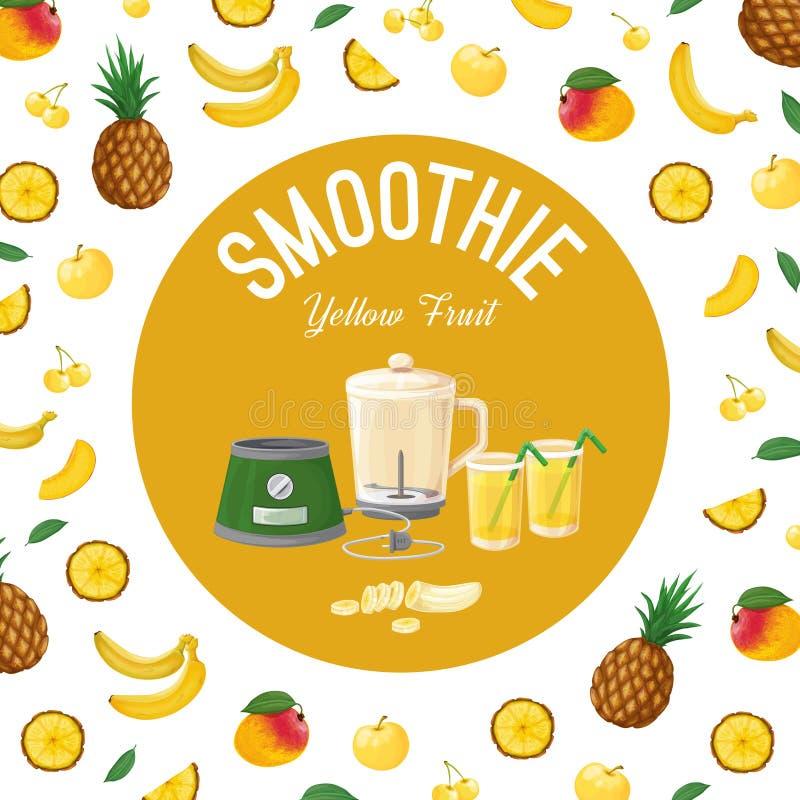 smoothies Amarelo da fruta Ilustração do vetor imagens de stock