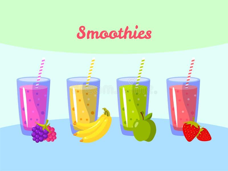 Smoothies de la historieta Manzana y fresa del plátano de la baya Sacudida de fruta orgánica libre illustration