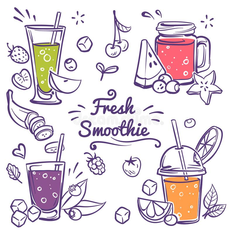 Free Smoothies. Detox Diet Drinks In Different Bottle, Cup With Fresh Fruit And Berries Strawberry, Cherry And Banana Stock Photos - 162857273