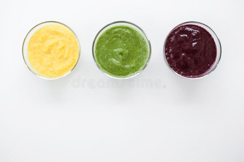 Smoothies fruit juice healthy food royalty free stock photos