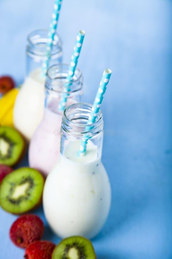 Smoothies med tropiska frukter fotografering för bildbyråer