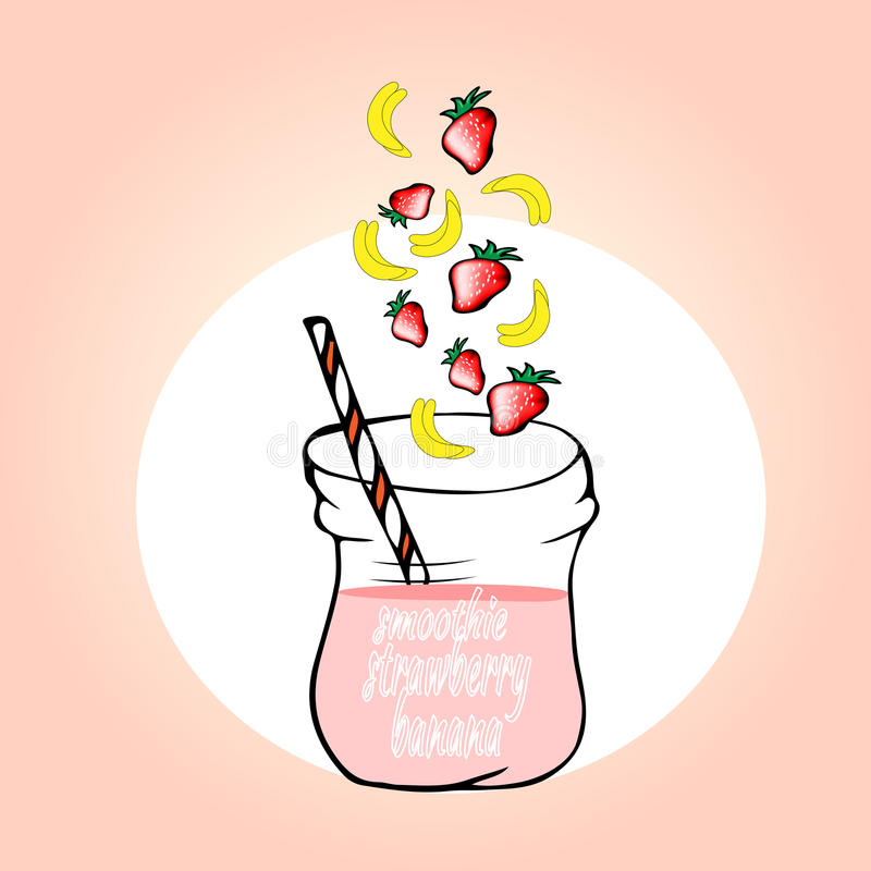 Smoothies sanos de la fruta en estilo del garabato Jugo fresco para la salud libre illustration
