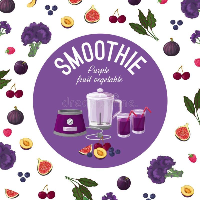 smoothies Vegetais roxos Ilustração do vetor fotos de stock royalty free