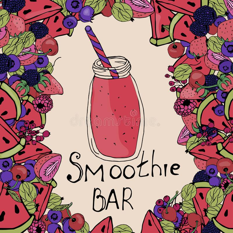 Smoothiesachtergrond, bes smoothies stock illustratie