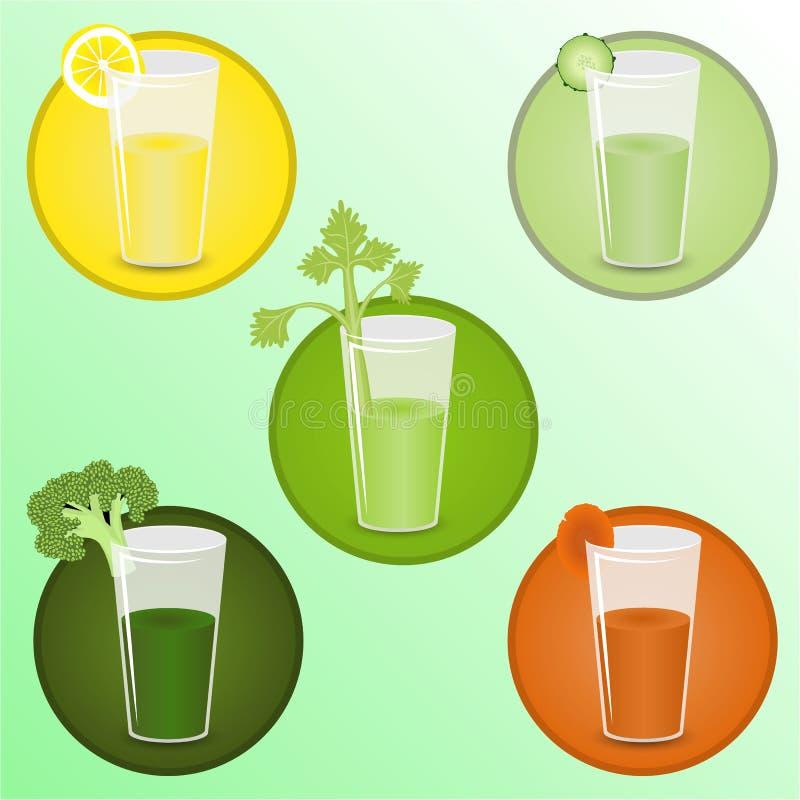 Smoothiesillustraties geplaatst ` met broccoli, selderie, komkommer, vector illustratie