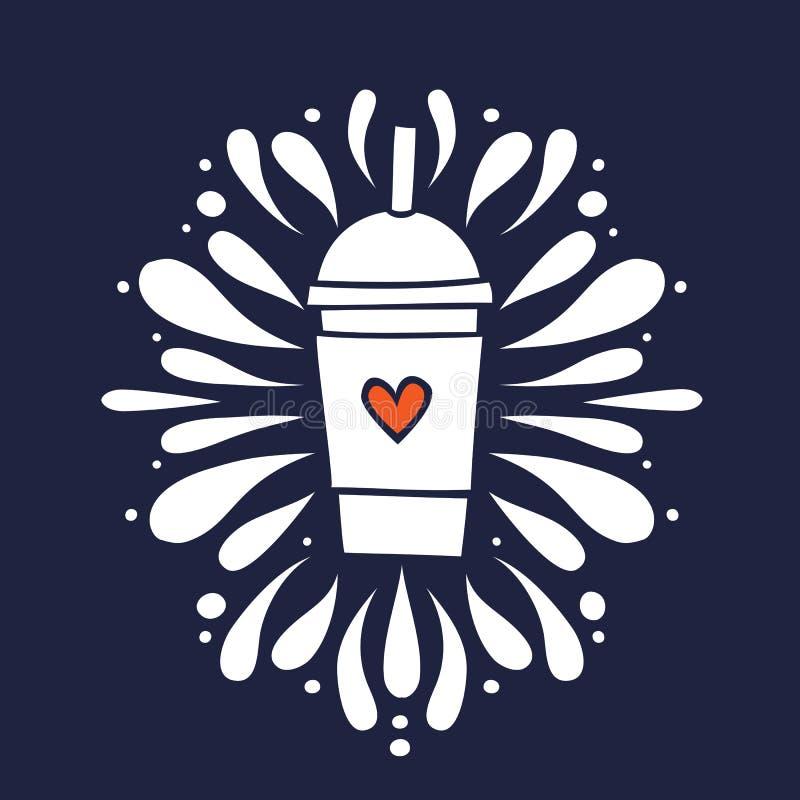 Smoothieskakakopp med för klottervektor för hjärta den hand drog illustrationen arkivfoton