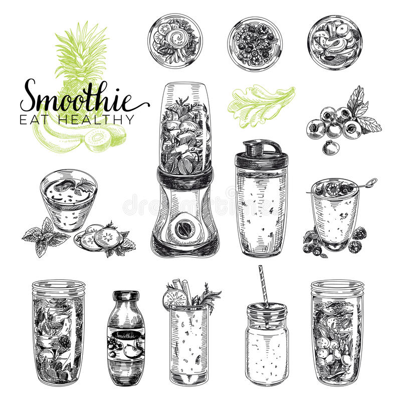 Smoothievektorsatz Gesunde Nahrungsmittelillustrationen in der Skizzenart lizenzfreie abbildung