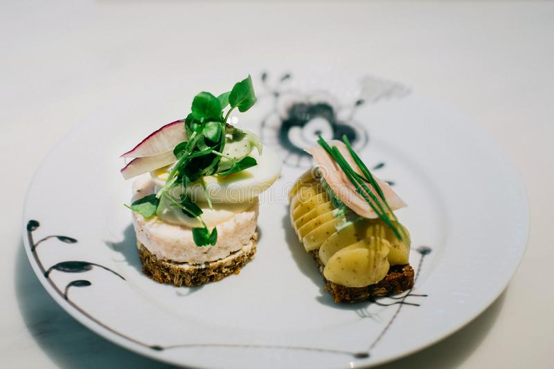 Smorrebrod Danish Sandwiches in Copenhagen royalty free stock image