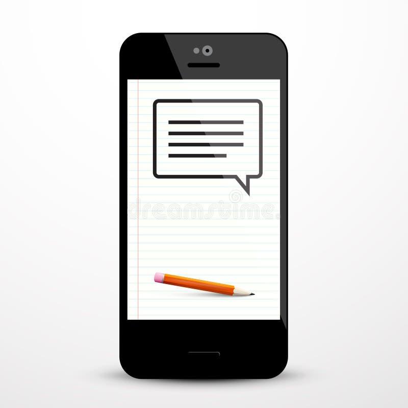 Sms符号 与铅笔的短信象 向量例证