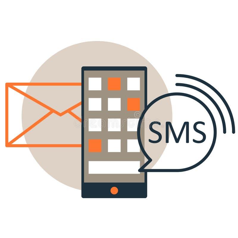 SMS,智能手机传染媒介象,平的线型的电子邮件通知 向量例证