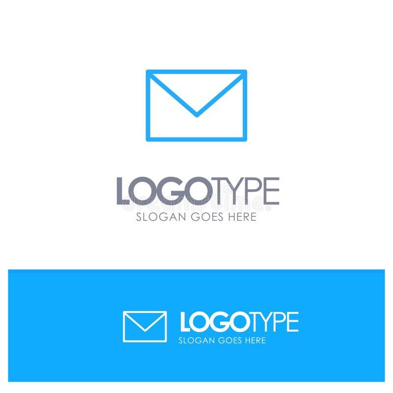Sms, массаж, почта, место логотипа плана песка голубое для слогана иллюстрация вектора