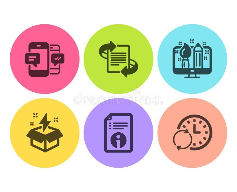 Sms смартфона, маркетинг и творческий набор значков идеи Техническая информация, творческий дизайн и время обновления знаки r иллюстрация штока