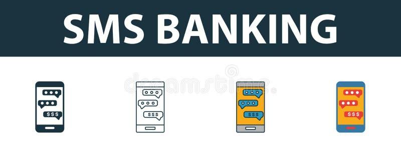 Sms Banking jeu d'icônes Quatre éléments de styles différents de la collection d'icônes de finance personnelle Les icônes créativ illustration stock