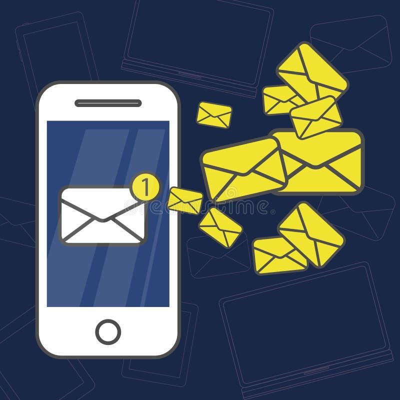 SMS-berichten op telefoon royalty-vrije illustratie