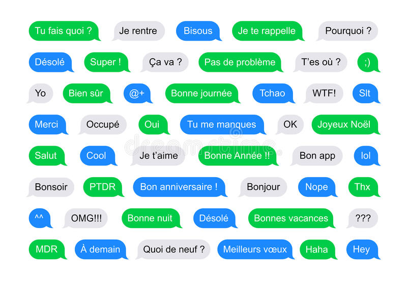 SMS bubbles short messages in French. Illustration of SMS Flat Bubbles green, blue and gray used on phone and tablet with short messages examples in French vector illustration