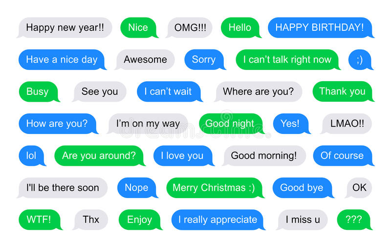 SMS bubbles short messages. Illustration of SMS Flat Bubbles green, blue and gray used on phone and tablet with short messages examples vector illustration