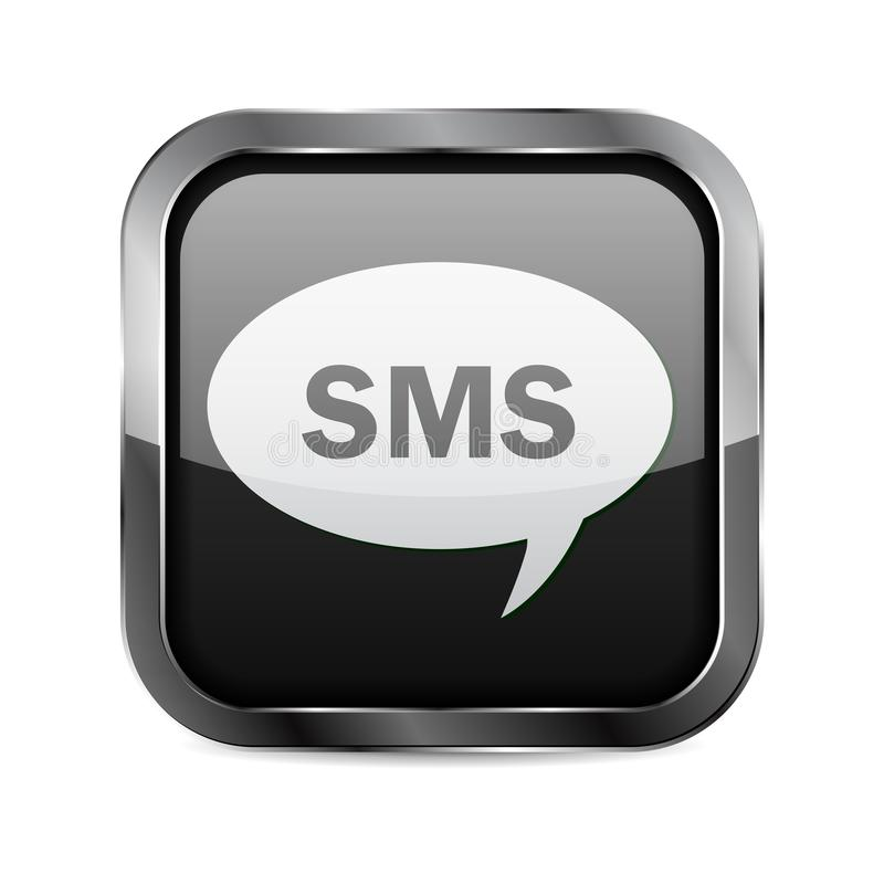 SMS button. Black glass 3d icon with metal frame vector illustration