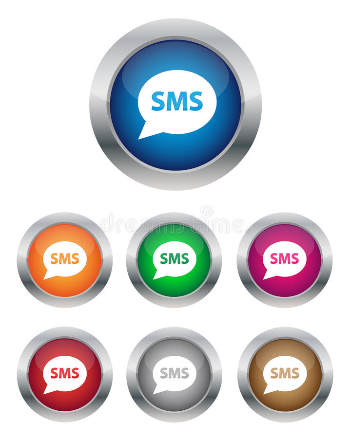 Download SMS buttons stock vector. Image of glass, internet, design - 24813387