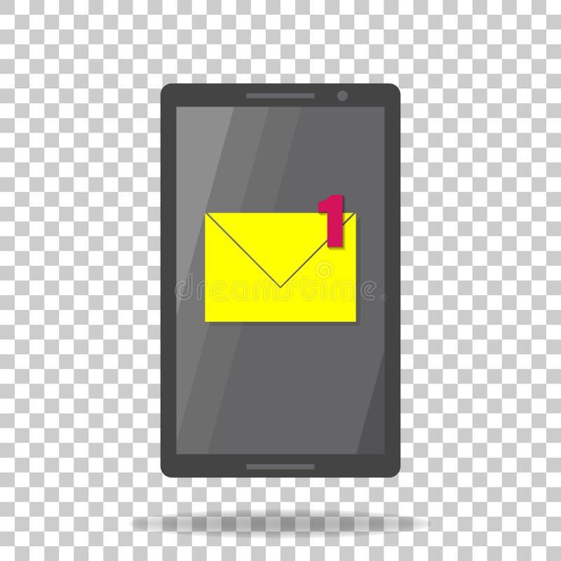 Sms de téléphone portable d'icône de vecteur Un nouveau message d'avis Email illustration libre de droits