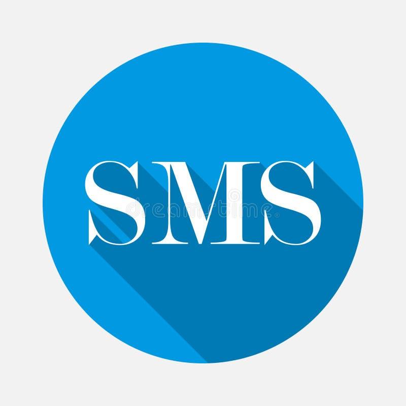 SMS del icono del vector en fondo azul Mensaje plano de la imagen con de largo stock de ilustración