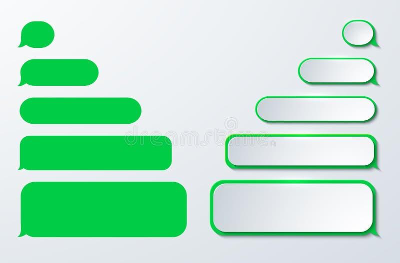 Sms do vetor ou ícones modernos da mensagem Discurso da bolha ilustração stock