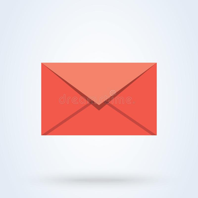 Sms en e-mail vlakke stijl Vectordieillustratiepictogram op witte achtergrond wordt ge?soleerd stock illustratie