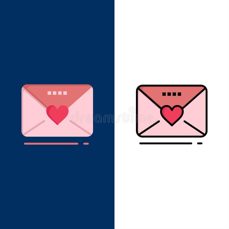 Sms förälskelse, bröllop, hjärtasymboler Lägenheten och linjen fylld symbol ställde in blå bakgrund för vektorn stock illustrationer