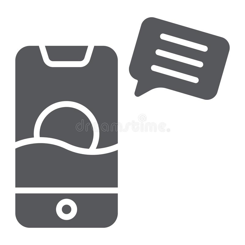 Sms glyph icon, mail and phone, message on smartphone sign, vector graphics, a solid pattern on a white background. Sms glyph icon, mail and phone, message on royalty free illustration