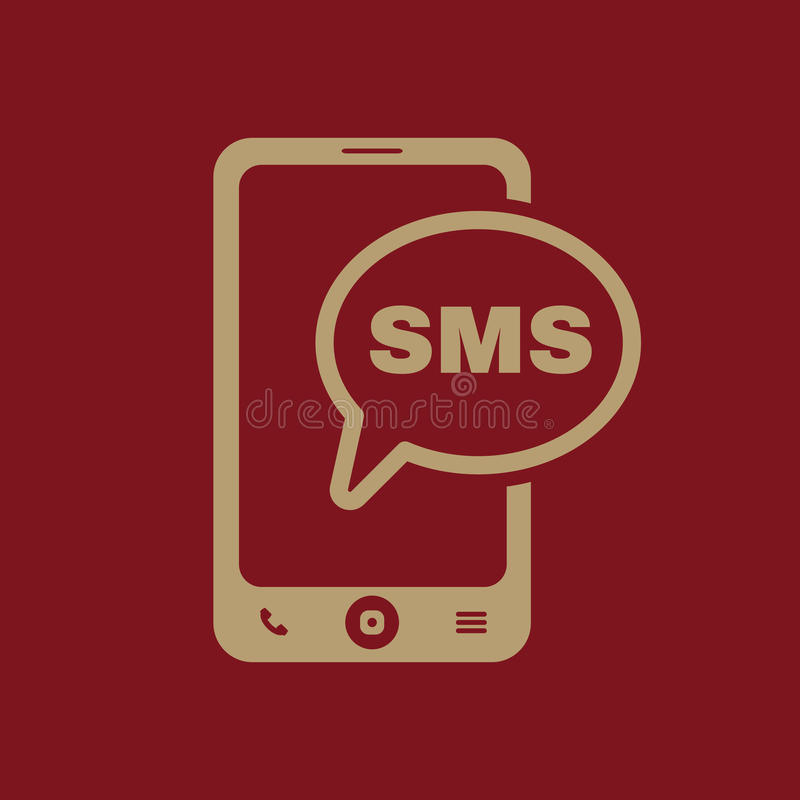 The sms icon. Smartphone and telephone, communication, message symbol. Flat. Vector illustration stock illustration