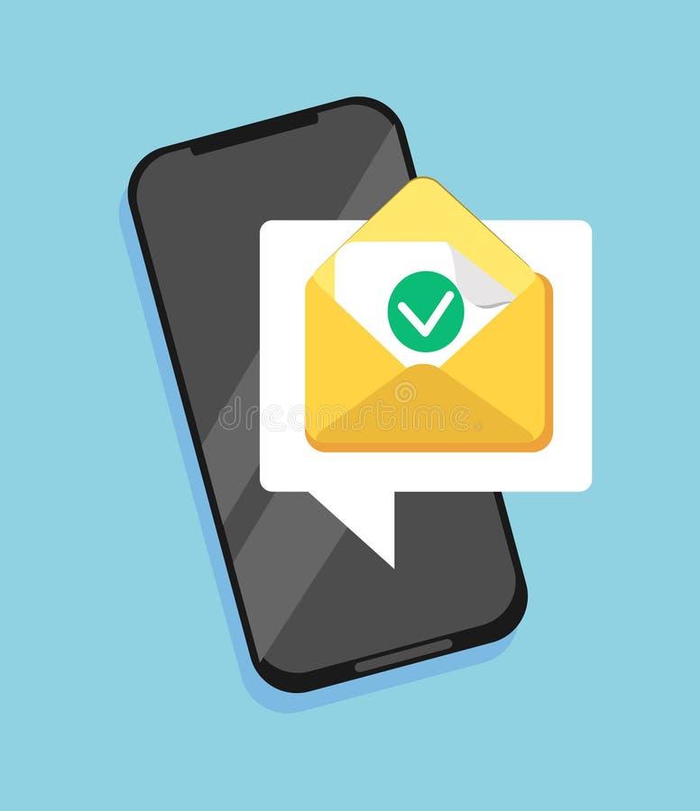 Sms-Ikonen- oder Postmitteilungsanzeige lizenzfreie abbildung