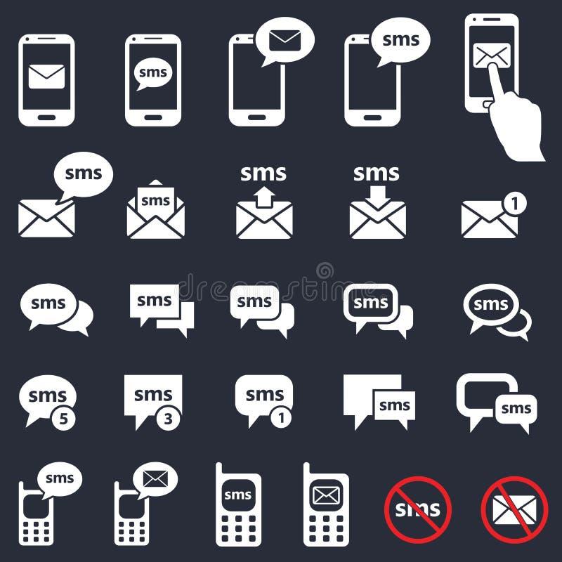 Sms, ikony, smartphone i mowa bąble poczta, ilustracja wektor