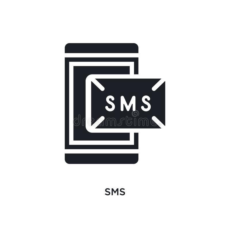 sms isolated icon. simple element illustration from electrian connections concept icons. sms editable logo sign symbol design on royalty free illustration