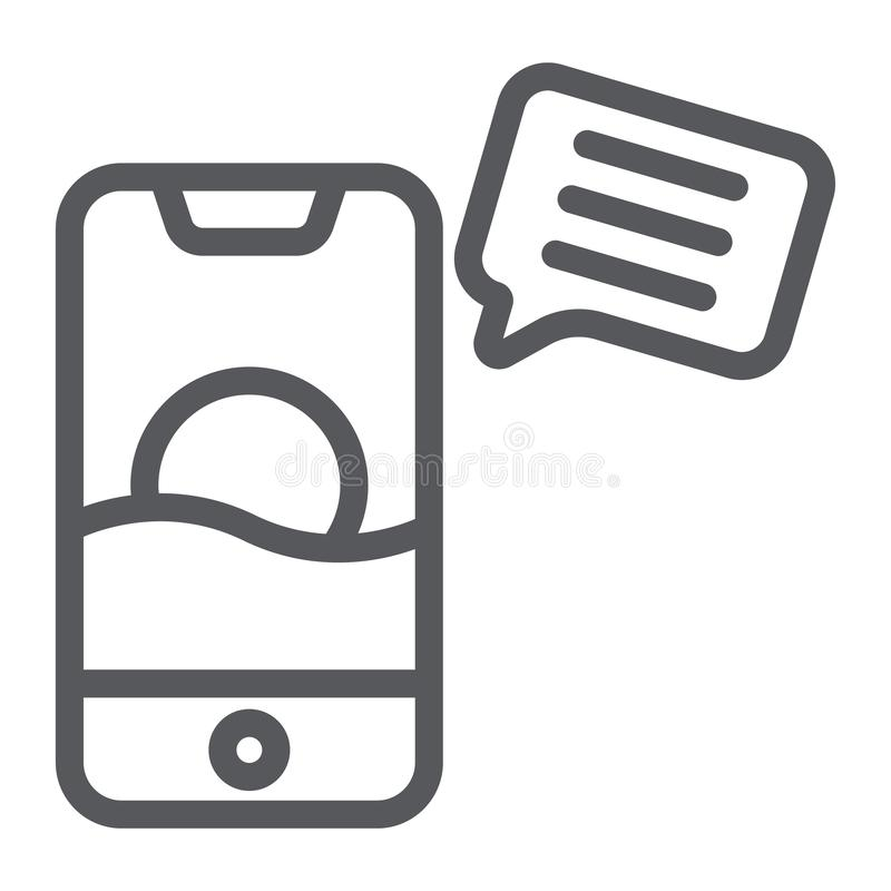 Sms line icon, mail and phone, message on smartphone sign, vector graphics, a linear pattern on a white background. Sms line icon, mail and phone, message on stock illustration