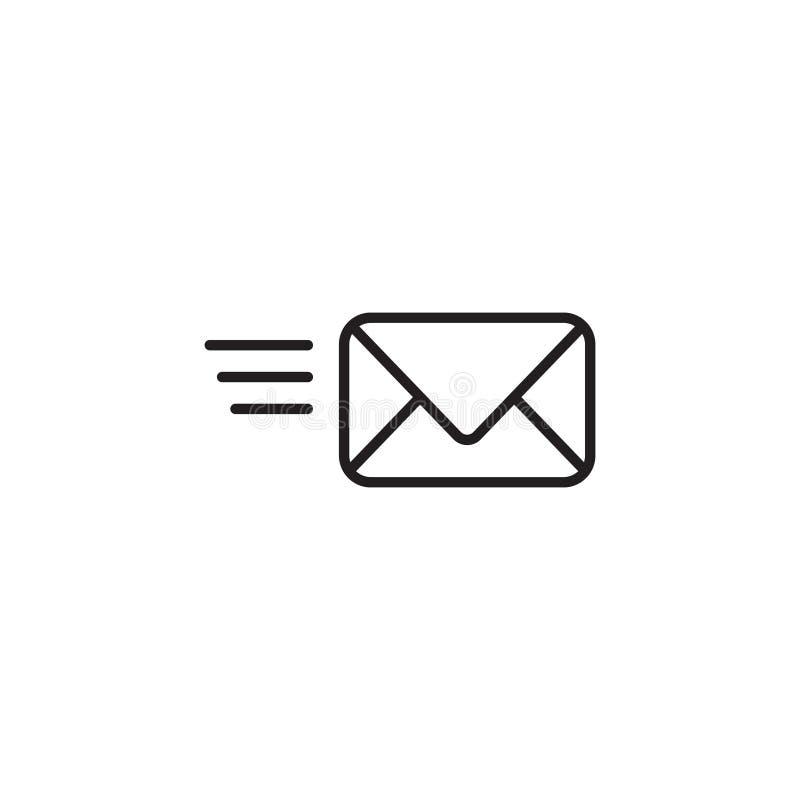 Sms-Linie Ikonenillustration, E-Mail-Umschlagknopf Contakt-Adresse, inbox stock abbildung