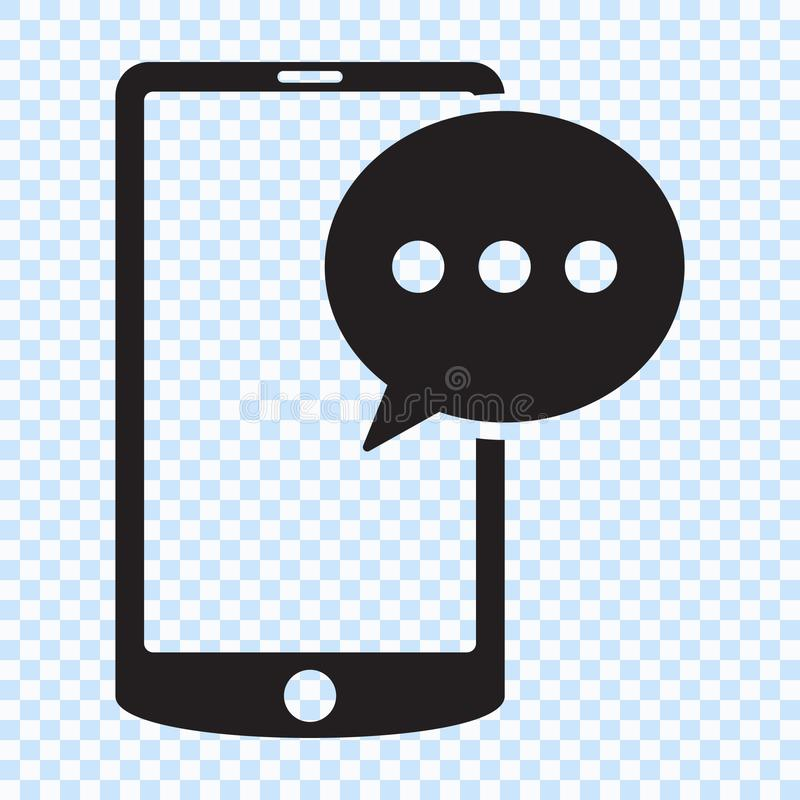SMS message in smartphone icon. SMS message icon in flat style isolated on white background. Sms symbol in phone. Vector illustration vector illustration
