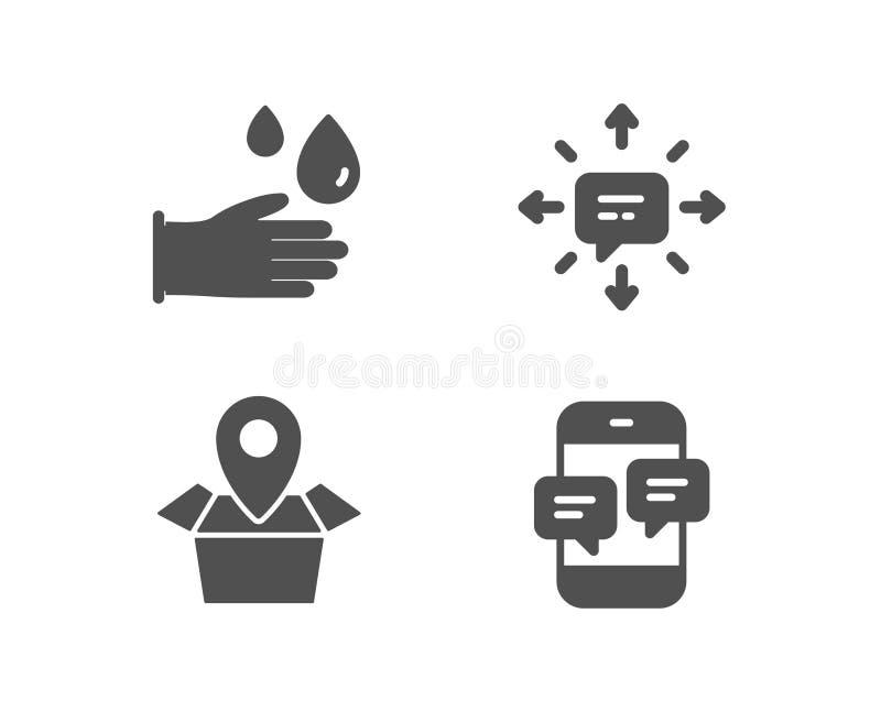 Sms, Pakketplaats en Rubberhandschoenenpictogrammen Het teken van telefoonberichten vector illustratie