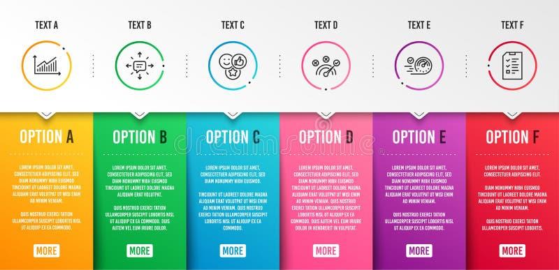 Sms, réponse correcte et ensemble d'icônes de graphique Signes de goût, de tachymètre et d'entrevue Conversation, symbole de vite illustration stock