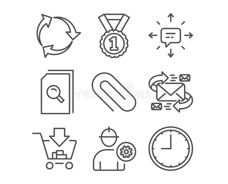 Sms, Recycle and Shopping icons. Engineer, Paper clip and Search files signs. royalty free illustration