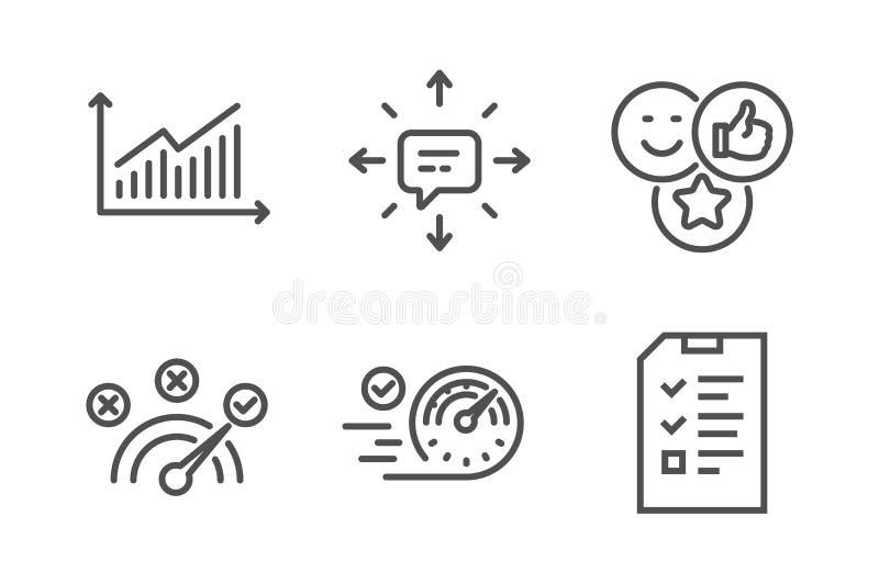 Sms, risposta corretta ed insieme delle icone del grafico Segni di simile, del tachimetro e di intervista Conversazione, simbolo  illustrazione vettoriale