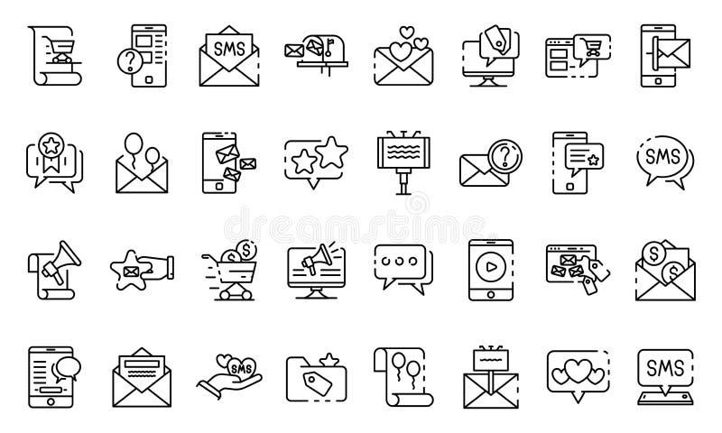Sms som marknadsför symbolsuppsättningen, översiktsstil royaltyfri illustrationer