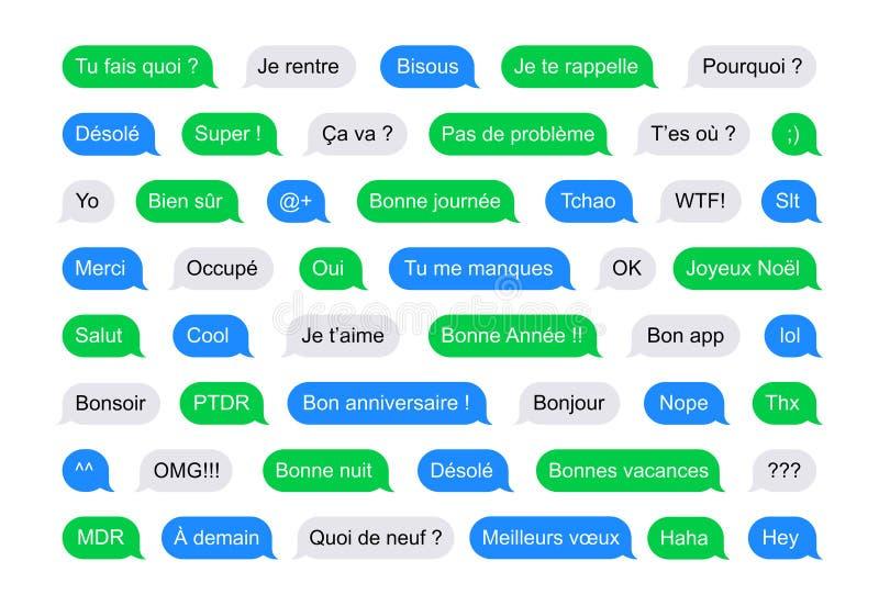 SMS sprudelt kurze Mitteilungen auf französisch vektor abbildung