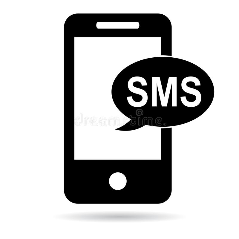 Sms symbolssvart royaltyfri illustrationer