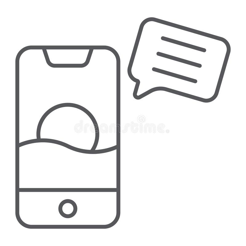 Sms thin line icon, mail and phone, message on smartphone sign, vector graphics, a linear pattern on a white background. Sms thin line icon, mail and phone stock illustration
